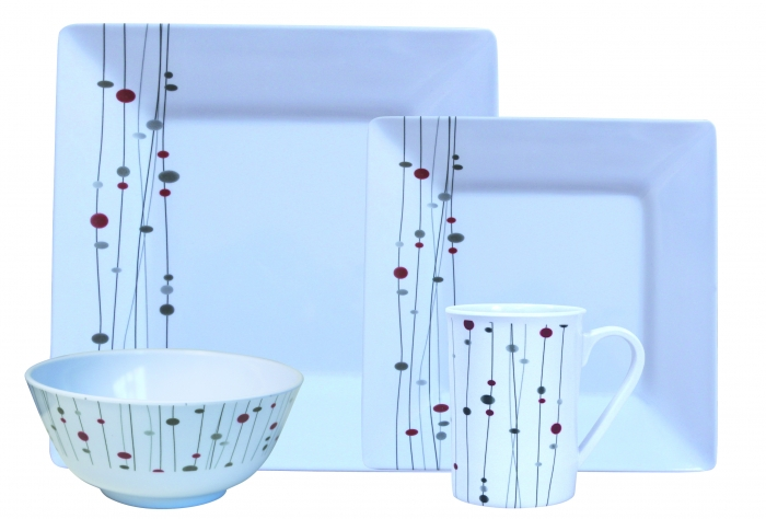 Linea Design Melamine 16pc Boxed Set Code No  LIN0116 4 Dinner Plates 4 Side Plates 4 Soup Bowl 4 Mugs 6 Box Set in a Master Carton  sc 1 st  Flamefield Ltd. & Flamefield Ltd.